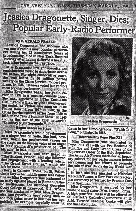 Jessica Dragonette's obituary from the New York Times